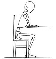 sedersi con appoggio degli avambracci sul tavolo